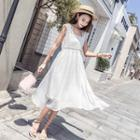 Lace Sleeveless Chiffon Dress