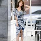Ruffle-sleeve Printed Sheath Dress
