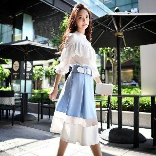 Color Block A-line Midi Skirt With Belt