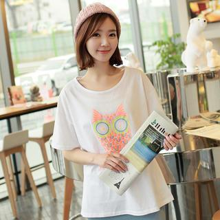 Short-sleeve Owl-print T-shirt