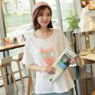 Short-sleeve Owl-print T-shirt