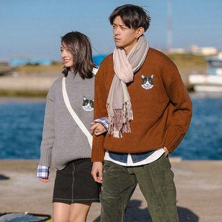 Couple Matching Mock-neck Embroidery Sweater