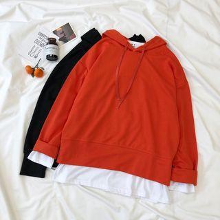 Set: Plain Hoodie + Long-sleeve Plain T-shirt