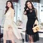 Long-sleeve Lace-panel Dress With Slipdress