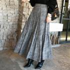 Band-waist Chevron Maxi Flare Skirt