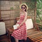 Plaid Sleeveless Midi Dress