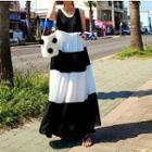 Color-block Maxi Tank Dress White, Black - One Size
