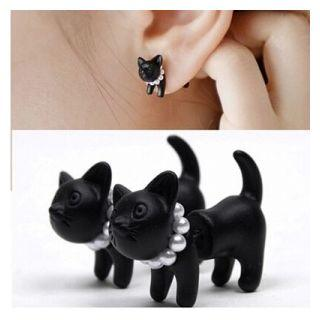 Cat Stud Earring 1 Pair - Black - One Size