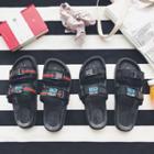 Contrast Trim Slide Sandals