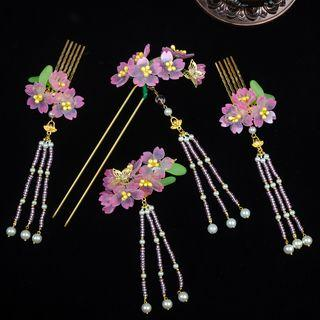 Floral Bead Fringed Hair Pin / Hair Comb