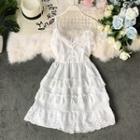 Lace-hem Ruffle-detail Sleeveless Dress