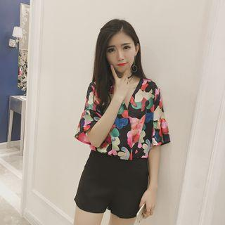Floral Print Elbow Sleeve Chiffon Top