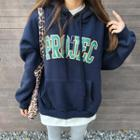 Letter-printed Fleece-lined Oversized Hoodie