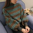 Balloon Sleeve Patterned Sweater