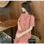 Plaid Short-sleeve Shirtdress Red - One Size