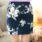 Floral Print Pencil Mini Skirt