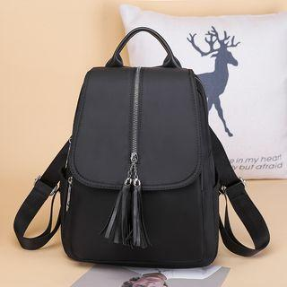 Tassel Detail Faux Leather Backpack Black - One Size