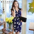 Swan-print Sleeveless Dress