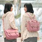 Faux-leather Lace Trim Belted Backpack
