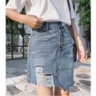 Asymmetrical Ripped Denim Skirt