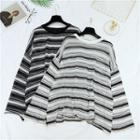 Striped Sheer Knit Pullover
