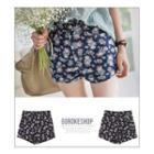 Zip-front Rosette Shorts