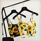 Flower Print Cropped Camisole Top