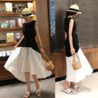 Sleeveless Paneled A-line Midi Dress