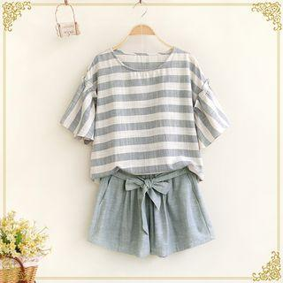Set: Short-sleeve Striped Top + Shorts