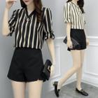 Set: Striped Chiffon Blouse + Shorts