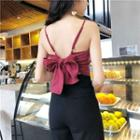 Open-back Bow Tie Cropped Tank Top