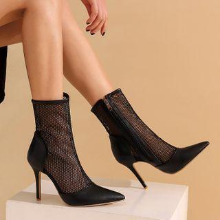 Chunky Heel Mesh Panel Short Boots