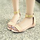 Low Wedge Ankle Strap Sandals