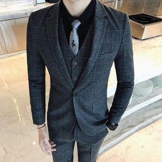 Set : Plaid Blazer + Vest + Pants