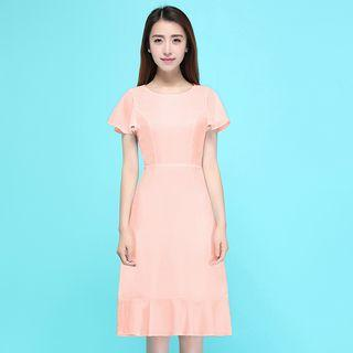Frill Trim Short Sleeve Midi Dress