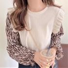 Patterned Ruffled Sweater