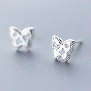 925 Sterling Silver Rhinestone Butterfly Stud Earring As Shown In Figure - One Size