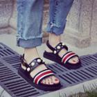 Striped Beaded Platform Sandals