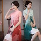 Printed Short-sleeve A-line Qipao