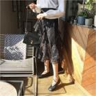 Ruffle-trim Laced Midi Skirt