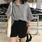 Elbow-sleeve Striped Panel Shirt
