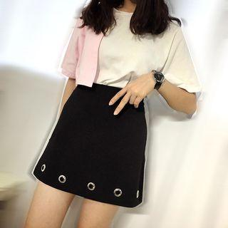 Grommet A-line Knit Skirt