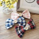 Flower Plaid Fabric Bow Hair Clip