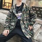 Plain / Camo Print Hooded Jacket