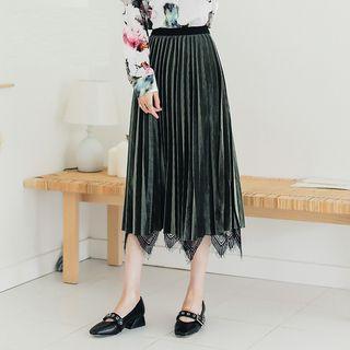 Lace Panel Pleuche Midi Accordion Pleated Skirt