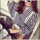 Pinstriped Lace Panel Batwing Blouse