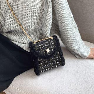 Chain Strap Faux Pearl Tweed Crossbody Bag