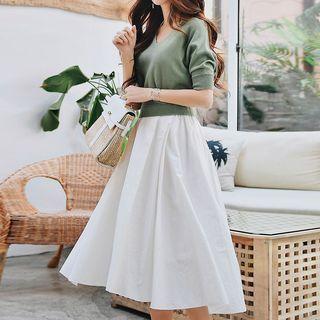 Mock Two-piece Elbow-sleeve Midi Dress