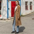 Double-breasted Belted Coat Camel - One Size