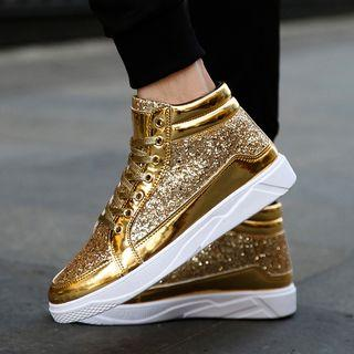 Faux-leather Glitter High-top Sneakers